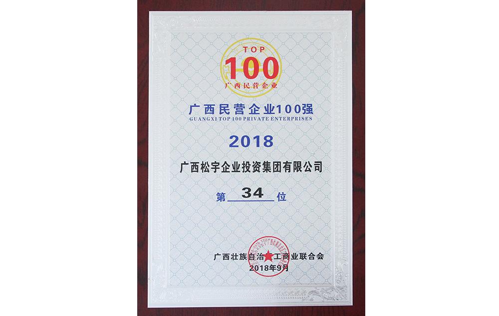 广西民营企业100强第34位